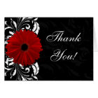 Red, Black and White Scroll Gerbera Daisy Card