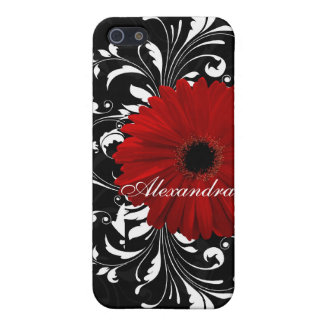 Red, Black and White Scroll Gerbera Daisy iPhone 5 Case