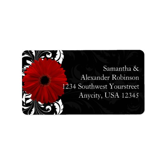 Red, Black and White Scroll Gerbera Daisy Label
