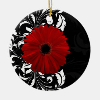 Red, Black and White Scroll Gerbera Daisy Round Ceramic Ornament