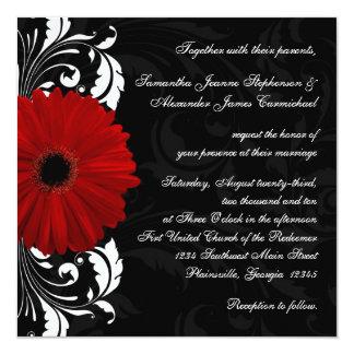 Red, Black and White Scroll Gerbera Daisy Square Custom Invite