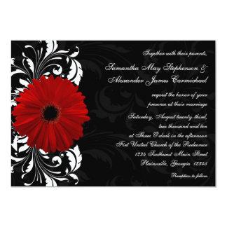 "Red, Black and White Scroll Gerbera Daisy Wedding 5"" X 7"" Invitation Card"