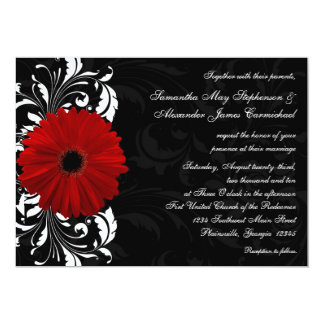 Red, Black and White Scroll Gerbera Daisy Wedding Card