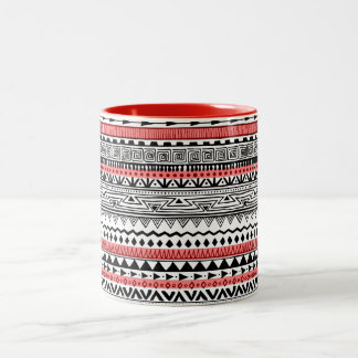 Red Black and white Southwestern Pattern Two-Tone Coffee Mug