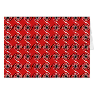 Red, Black and White Spiral Swirl Pattern. Card