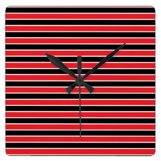 Red, Black and White Stripes Wallclocks