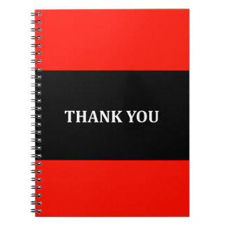 Red, black and white Thank you Spiral Notebook