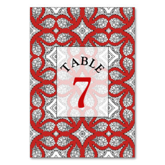 Red, Black and white Wedding Table Number Card