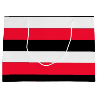 Red, black and whites stripes large gift bag