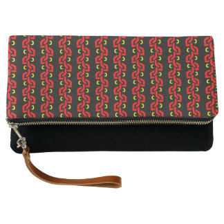 Red Black and Yellow Flowering Vine Pattern Clutch