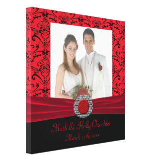 Red & Black Baroque Jewel Add A Photo Frame Up Canvas Print