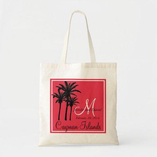 Red Black Beach Wedding Palm Trees Canvas Bag