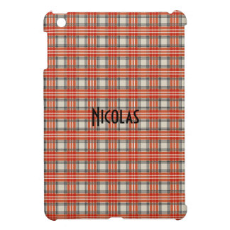 Red Black Beige Gingham Pattern Personalized Name iPad Mini Cases