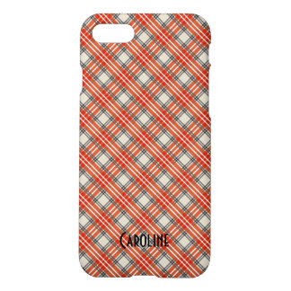 Red Black Beige Gingham Pattern Personalized Name iPhone 7 Case