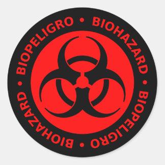 Red & Black Bilingual Biohazard Symbol Sticker