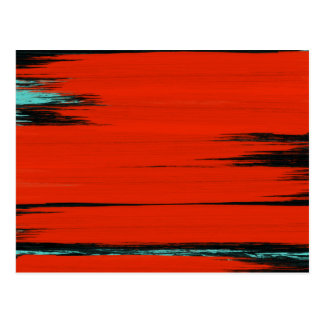 Red Black Blue Paint Stripes Abstract Art Postcard