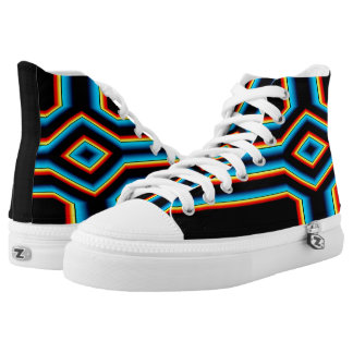 Red Black Blue Yellow Abstract Rainbow Neon Cross High Tops