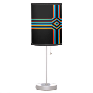 Red Black Blue Yellow Abstract Rainbow Neon Cross Table Lamp