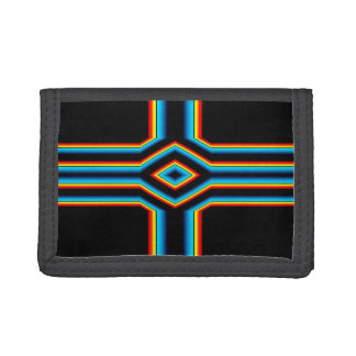 Red Black Blue Yellow Abstract Rainbow Neon Cross Tri-fold Wallet