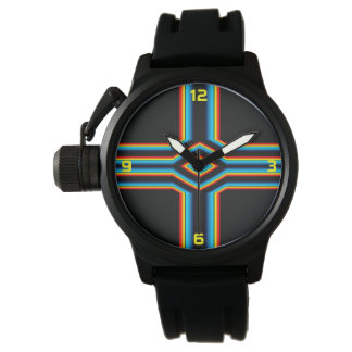 Red Black Blue Yellow Abstract Rainbow Neon Cross Watch