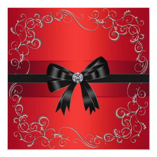 Red Black Bow Red Black Tie Corporate Party Event Card