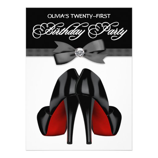 Red Black Bow Tie Womans Birthday Party Invitations