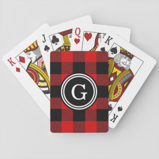 Red Black Buffalo Check Plaid 1IR Playing Cards