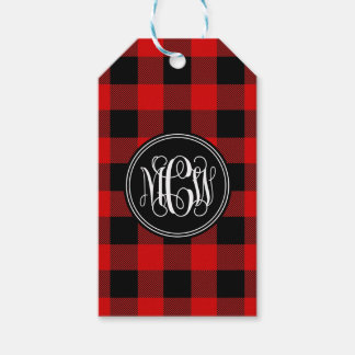 Red Black Buffalo Check Plaid 3 Init Vine Monogram Gift Tags