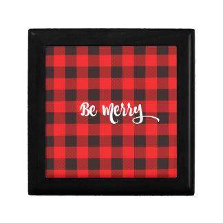 Red & Black Buffalo Check Plaid BE MERRY Gift Box