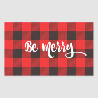 Red & Black Buffalo Check Plaid BE MERRY Sticker