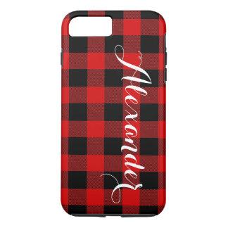 Red Black Buffalo Check Plaid Name Monogram NL iPhone 8 Plus/7 Plus Case