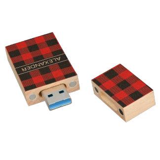 Red Black Buffalo Check Plaid Name Monogram Wood USB 3.0 Flash Drive
