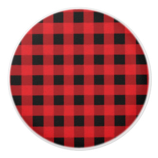 Red Black Buffalo Checker Plaid Country Rustic Ceramic Knob