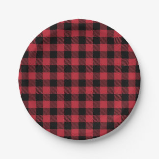 "Red & Black Buffalo Plaid 7"" Paper Plates 7 Inch Paper Plate"