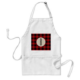 Red Black Buffalo Plaid Checkered Monogram Kraft Standard Apron