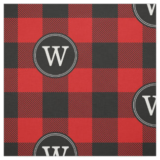 Red Black Buffalo Plaid Lumberjack 1IR Monogram Fabric