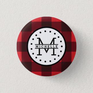 Red black Buffalo Plaid Lumberjack Name Monogram 1 Inch Round Button