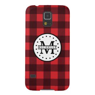 Red black Buffalo Plaid Lumberjack Name Monogram Galaxy S5 Cases
