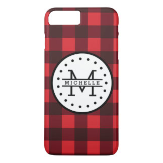 Red black Buffalo Plaid Lumberjack Name Monogram iPhone 8 Plus/7 Plus Case