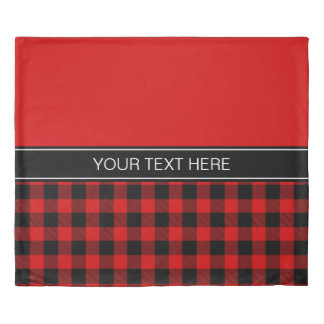 Red Black Buffalo Plaid Name Monogram R Duvet Cover