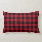 Red Black Buffalo Plaid Pattern Lumbar Pillow
