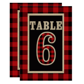 Red & Black Buffalo Plaid Rustic Table Number 6