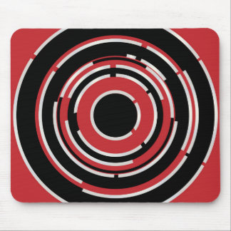 Red Black Circular Abstract Background Mouse Pad