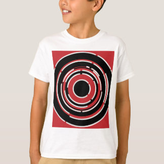 Red Black Circular Abstract Background T-Shirt