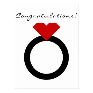 Red & Black Congratulations Engagement Postcard