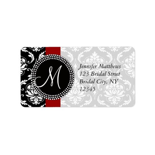 Red Black Damask Address Labels for Wedding