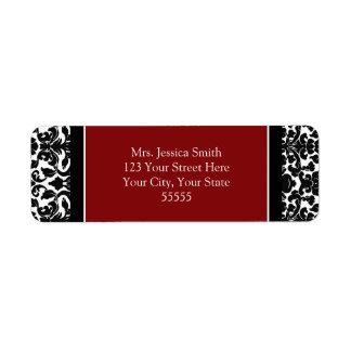 Red Black Damask Custom Return Address Labels