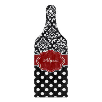 Red Black Damask Dots Personalized Boards