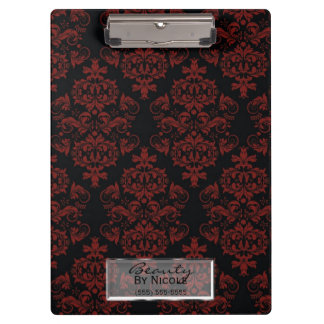 Red Black Damask Elegant Chic Glam Personalized Clipboard
