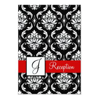 Red Black Damask Monogram Reception Card
